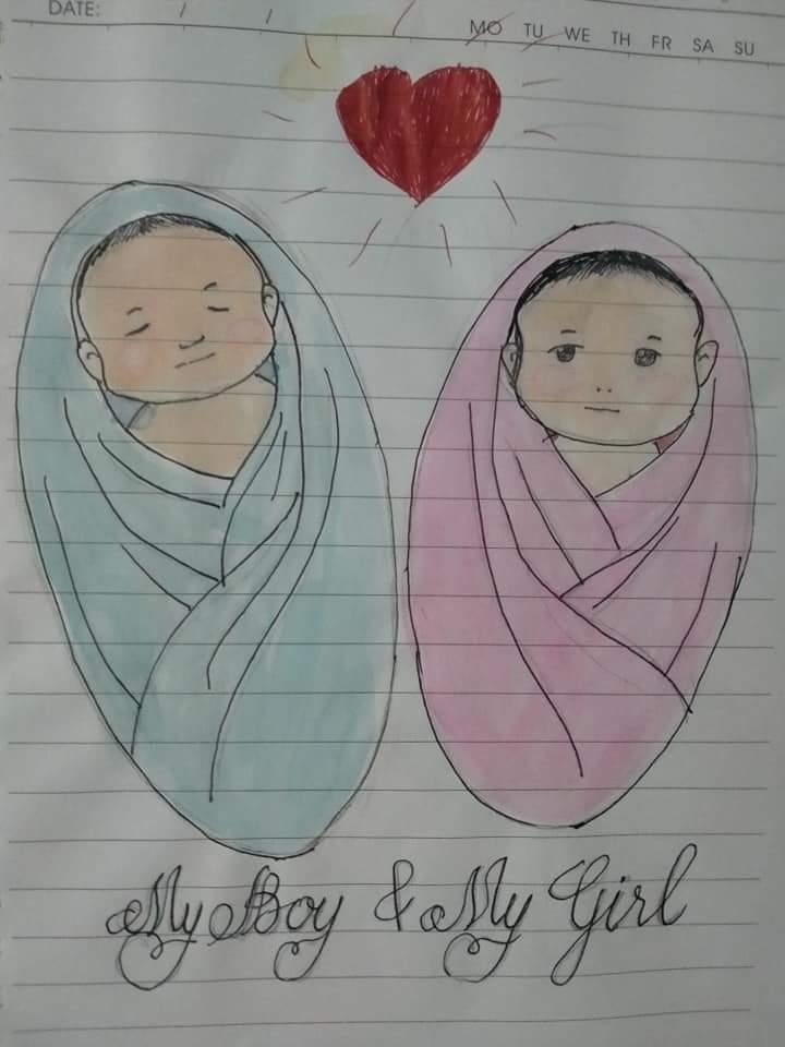 Bức tranh bố Cường vẽ hai con
